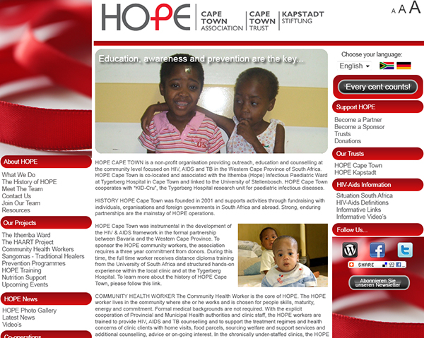 Hope Cape Town - Dynamic Website